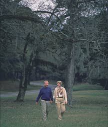 retired couple walking in Natchez